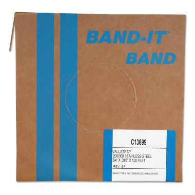 BAND-IT Valustrap Strappings, 3/4 in x 100 ft, 0.015 in Thick, Stainless Steel