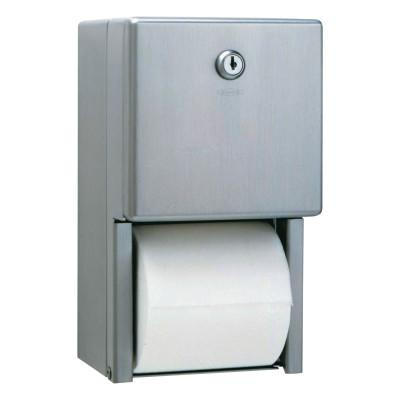 BOBRICK WASHROOM Stainless Steel Two-Roll Tissue Dispenser, 6 1/4w x 6d x 11h, Stainless Steel