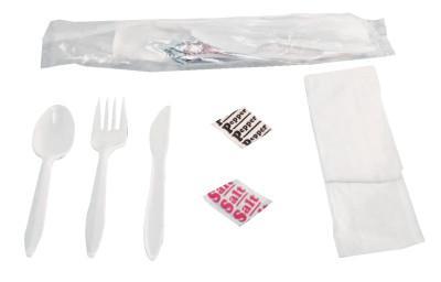 BOARDWALK FOODSERVICE Wrapped Cutlery Kits, Fork, Knife, Spoon, Napkin, Salt & Pepper Packets
