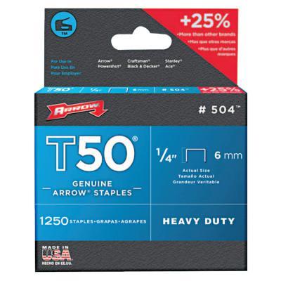 ARROW FASTENER T50 Type Staples, #504™, 1/4 in L x 3/8 in W, Steel