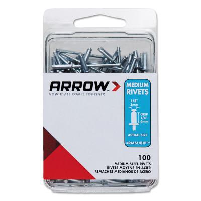 ARROW FASTENER Steel Rivets, 1.29 x 1/8, Medium