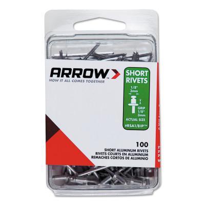 ARROW FASTENER Aluminum Rivets, 1/8 x 1/8, Short