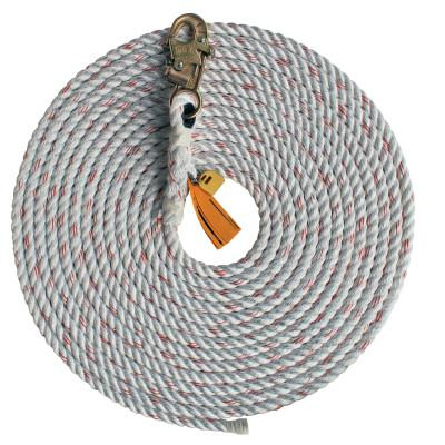 DBI/SALA Rope Lifeline with Snap Hooks, 310 lb Cap, 50 ft, Polyester/Polypropylene Blend