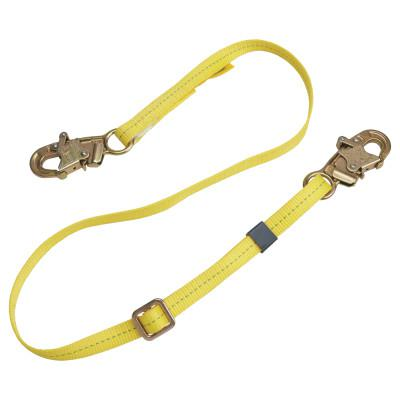 DBI/SALA Web Adjustable Positioning Lanyard, 6ft, Snap Hook Connection, 310lb Cap, Yellow