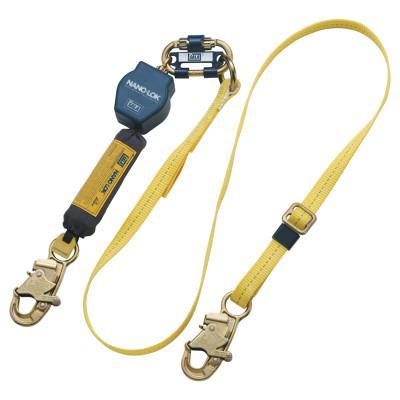 DBI/SALA Nano-Lok Web Adjustable Restraint Lanyards, 6 ft, Self-Locking Snap Hook, 1 Leg