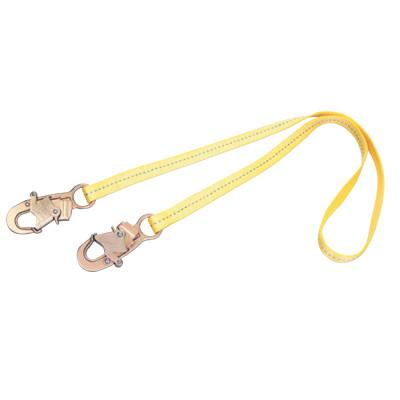 DBI/SALA Web Adjustable Positioning Lanyard, 2ft, Snap Hook Connection, 310lb Cap, Yellow