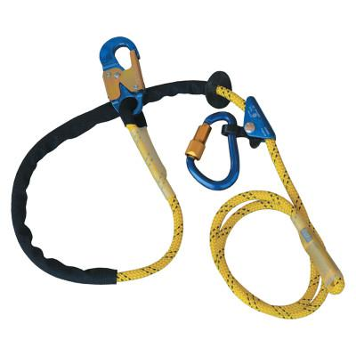 DBI/SALA Pole Climber's Adj Rope Pos Lanyard, 8 ft, Snap Hook, 310lb Cap, Yellow/Blue