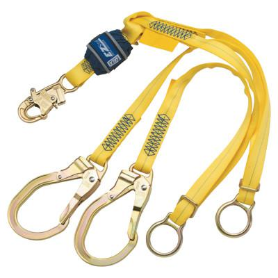 DBI/SALA EZ-Stop 100% Tie-Off Shock Absorb Lanyard, 6 ft, Snap Hook, 310lb Cap, Blue/YW