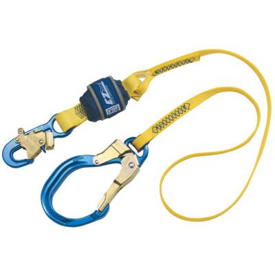 DBI/SALA EZ Stop Shock Absorbing Lanyard, 6ft, Snap/Rebar Hook, 310lb Cap, Blue/Yellow