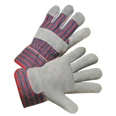 ANCHOR BRAND 2000 Series Leather Palm Gloves, Large, Cowhide, Leather, Gray, Striped Back