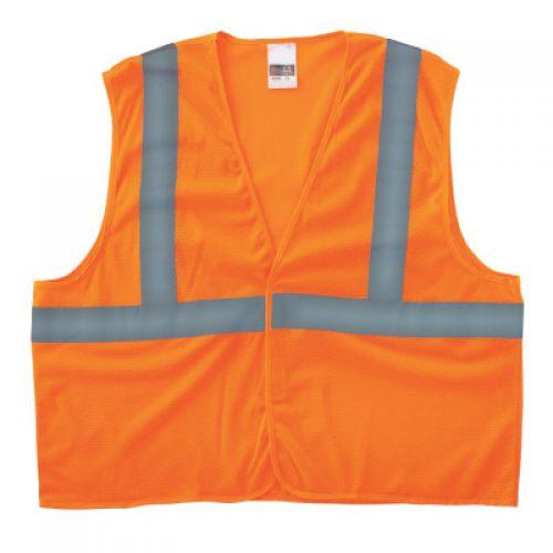 ANCHOR BRAND Class 2 Super Econo Safety Vests, Hook/Loop Closure, S/M, Orange