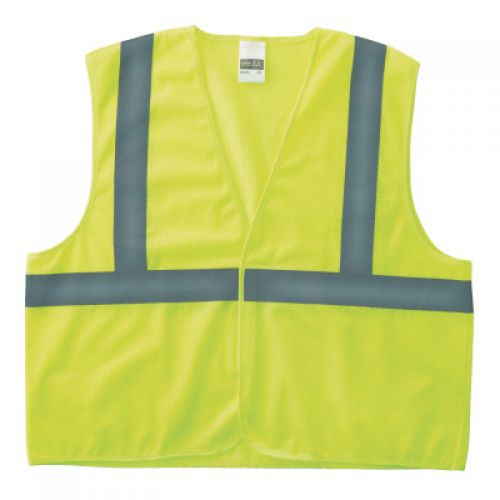 ANCHOR BRAND Class 2 Economy Safety Vests with Pocket, Hook/Loop Closure, S/M, Lime
