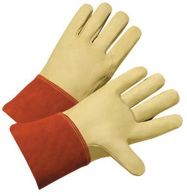PIP TIG/MIG Welding Gloves, Grain Cowhide, Large, Tan/Russet