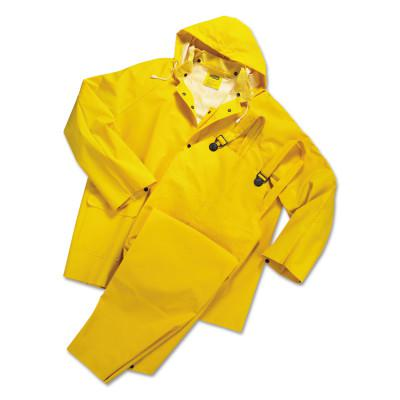 ANCHOR BRAND 3-pc Rainsuit, Jacket/Hood/Overalls, 0.35 mm, PVC Over Polyester, Yellow, 6X-Large