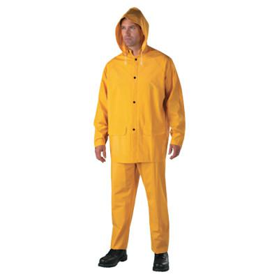 ANCHOR BRAND 3-Piece Rainsuit, Jacket/Hood/Overalls, 0.35 mm PVC/Poly, Yellow, X-Large