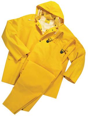 ANCHOR BRAND 3-Piece Rainsuit, Jacket/Hood/Overalls, 0.35 mm PVC/Poly, Yellow, 3X-Large