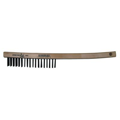 ANCHOR BRAND Hand Scratch Brushes, 4 X 18 Rows, Carbon Steel Bristles, Curved Wood Handle