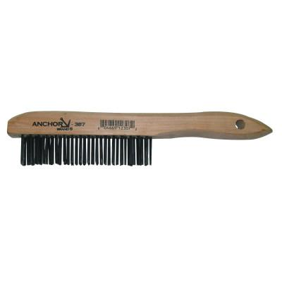 ANCHOR BRAND Hand Scratch Brushes, 4 X 16 Rows, Carbon Steel Bristles, Shoe Wood Handle