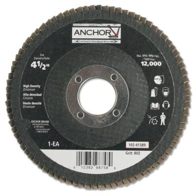 ANCHOR BRAND Abrasive High Density Flap Discs, 4 1/2 in, 80 Grit, 7/8 in Arbor, 12,000 rpm