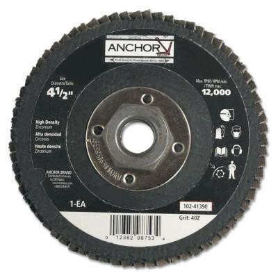 "ANCHOR BRAND Abrasive High Density Flap Discs, 4 1/2"", 40 Grit, 5/8"" - 11 Arbor, 12,000 RPM"