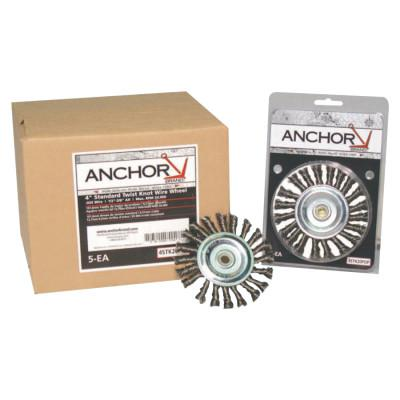ANCHOR BRAND Knot Wheel Brush, 4 in D x 5/8 in W, .014 in Stainless Steel Wire