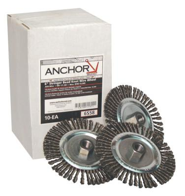 ANCHOR BRAND Stringer Bead Wheel Brush, 6 in D x 6 in W, 0.02 in Carbon Steel Wire