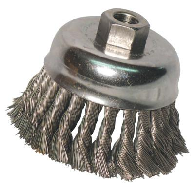 ANCHOR BRAND Knot Wire Cup Brush, 3 1/2 in Dia., 5/8-11 Arbor, .02 in Carbon Steel