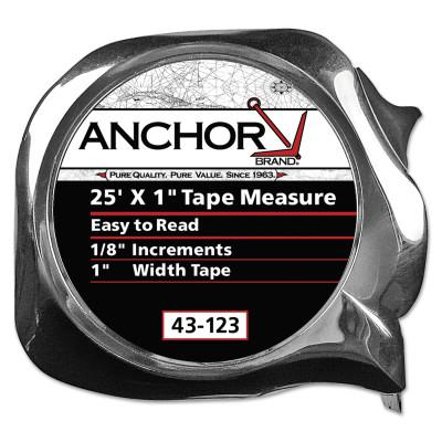 ANCHOR BRAND Easy to Read Tape Measures, 1 in x 25 ft, Yellow
