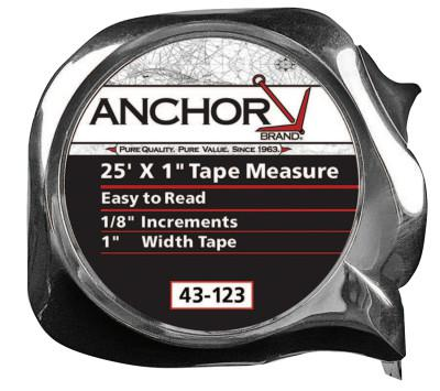 ANCHOR BRAND Easy to Read Tape Measures, 1 in x 25 ft, Chrome