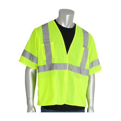 PIP ANSI Type R Class 3 Value Four Pocket Mesh Vests, 6X-Large, Hi-Viz Yellow