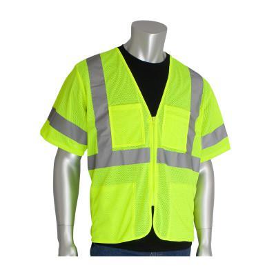 PIP ANSI Type R Class 3 Value Four Pocket Zipper Mesh Vests, 2X-Large, Hi-Viz Yellow