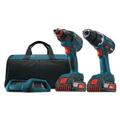 BOSCH POWER TOOLS 18V Cordless Drill Driver/Impact Driver Combo, 1/4 in Chuck, 1650 in lb Torque