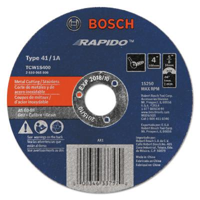 """ROTOZIP Thin Cutting/Rapido Type 1A (ISO 41) Wheels, 4"""", 5/8 in Arbor, AS60INOX-BF Grit"""