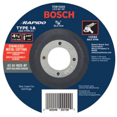 """ROTOZIP Thin Cutting/Rapido Type 1A (ISO 41) Wheel, 4 1/2"""", 7/8"""" Arbor, AS60INOX-BF Grit"""
