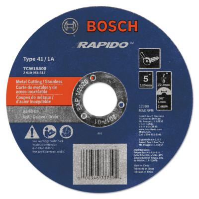 """BOSCH POWER TOOLS Thin Cutting/Rapido Type 1A (ISO 41) Wheels, 5"""", 7/8 in Arbor, AS60INOX-BF Grit"""