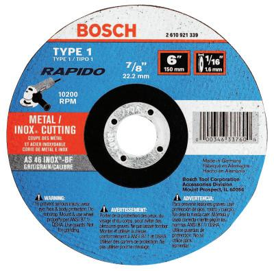 ROTOZIP Thin Cutting/Rapido Type 1A (ISO 41) Wheels, 6 X 1/16, 7/8 in Arbor, AS60INOX-BF