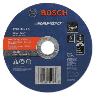 ROTOZIP Thin Cutting/Rapido Type 1A (ISO 41) Wheels, 6 X .045, 7/8 in Arbor, AS60INOX-BF