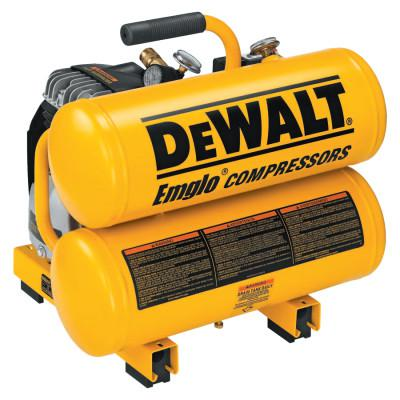 DEWALT AIR COMPRESSOR 2 HP 4 GAL HAND CARRY TWIN TANK
