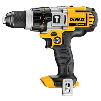 DEWALT 20V MAX* Lithuim Ion Cordless Premium 3-Speed Hammerdrills (Tool Only), 1/2 in, Ratcheting, 2,000 rpm
