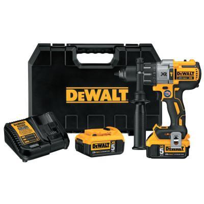 DEWALT 20V MAX XR Lithium Ion Brushless Drill/Driver Kits, 1/2 in Chuck, 5 Ah Batt Cap