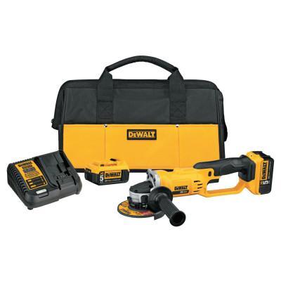 DEWALT 20V MAX Lithium Ion Grinder Tool Kit, 2 Batteries, Charger, Spanner Wrench, Bag