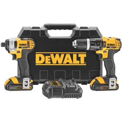 DEWALT 20V MAX Cordless Combo Kits, 1/2 in Compact Drill; 1/4 in Impact Driver, 1.5aph