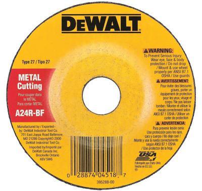DEWALT Type 27 Depressed Center Wheels, 4 in, 5/8 in Arbor, A24R Grit, 1/8 in Thick