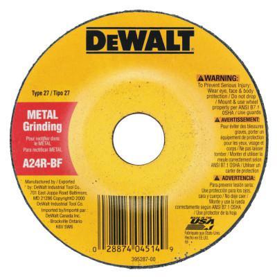 DEWALT Type 27 Depressed Center Wheels, 4 in, 5/8 in Arbor, A24R Grit, 1/4 in Thick