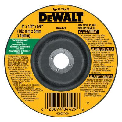 DEWALT Type 27 Depressed Center Wheels, 4 in, 5/8 in Arbor, C24R Grit, Silicon Carbide