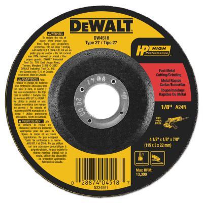 DEWALT Type 27 Depressed Center Wheels, 7/8 in Arbor, A24R Grit, Aluminum Oxide