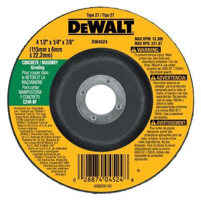 "DEWALT Type 27 Depressed Center Wheels, 4 1/2"", 7/8"" Arbor, C24R Grit, Silicon Carbide"