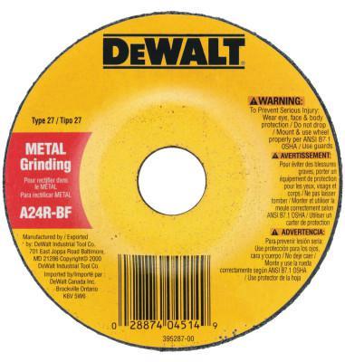 DEWALT Type 27 Depressed Center Wheels, 5 X 1/4 X 7/8, A24R Grit, Aluminum Oxide