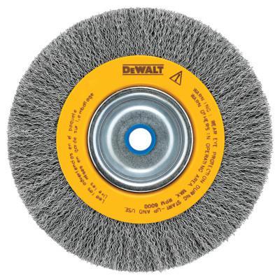 DEWALT Bench Grinder Brushes, 8 in Dia., 3/4 in, 0.014 in, Carbon, 4,000 rpm