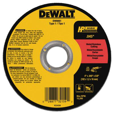 DEWALT Type 1 Thin Metal Cutting Wheels, HP, 4-1/2 in x .045 in x 7/8 in, 13300 rpm